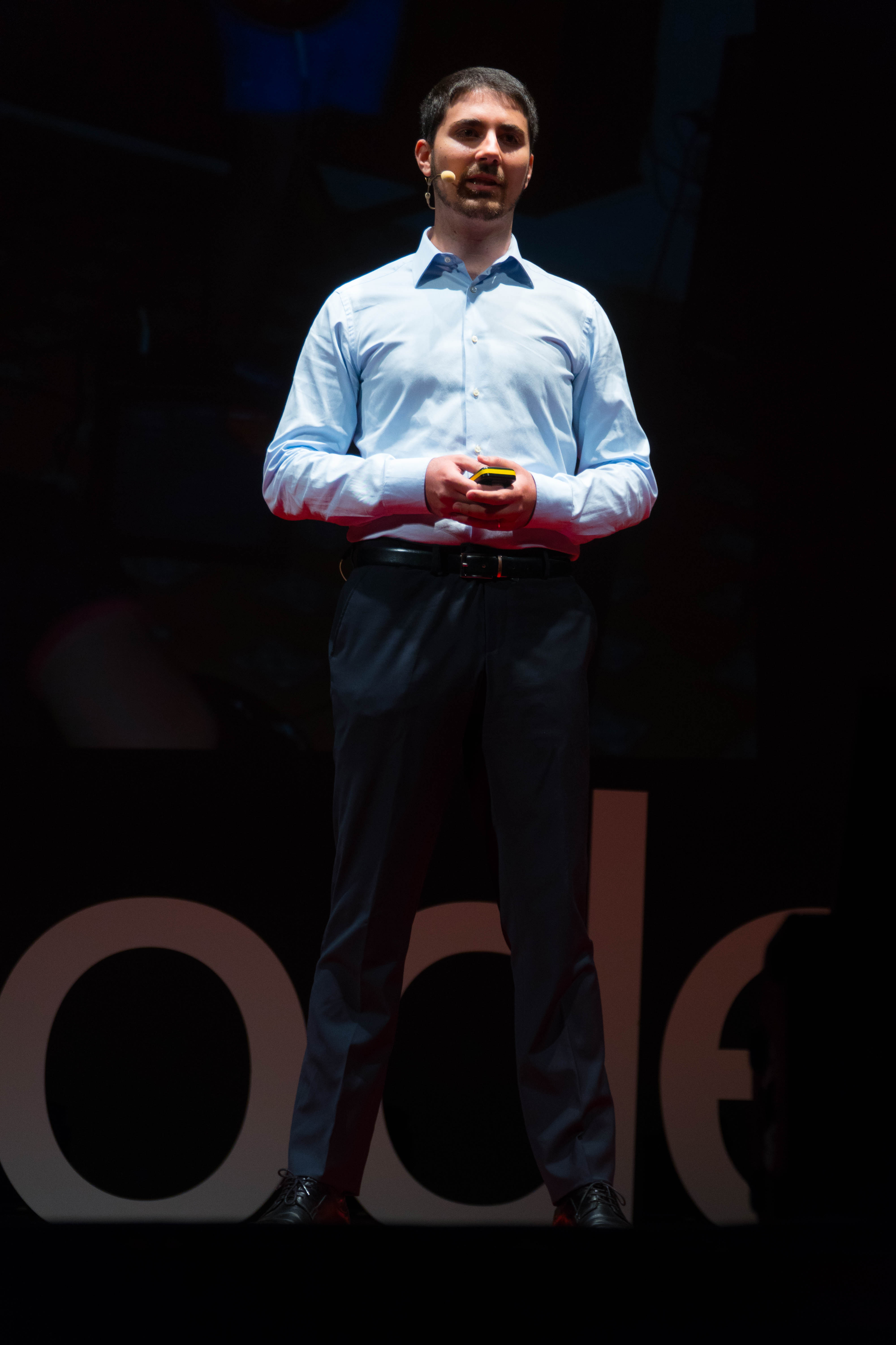 Giuseppe Alonci on the stage of TEDx Modena 2018